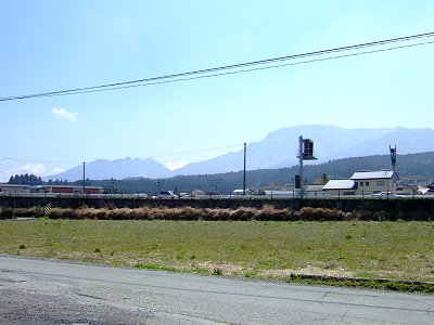 休憩した阿蘇駅から阿蘇5岳の根子岳方向を望む