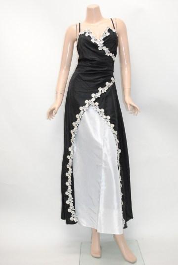 ツートンカラー カシュクールネックライン ロングドレス