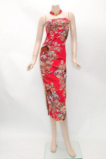 チョーカー風襟付きベアトップ チャイナドレス