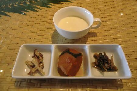 豆乳コーンポタージュと前菜
