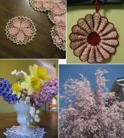 ポットホルダーと桜のコースター