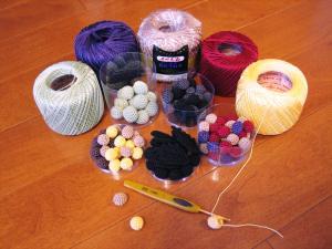 編み玉作成中