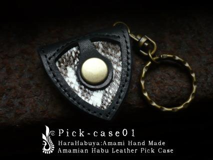 ギターピックケース「pick-case01」【黒/ハブ白黒】