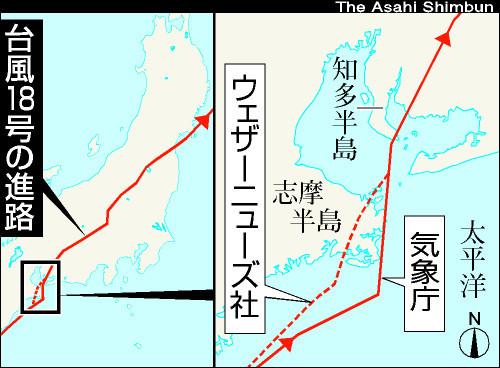 台風18号の上陸地点