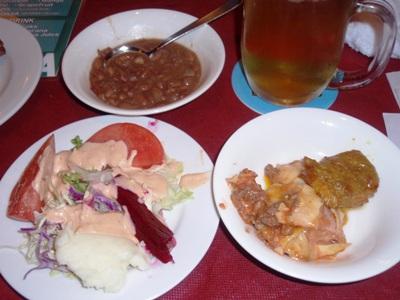 エテルナ豆料理とサラダ