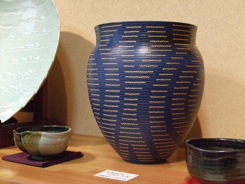 090517_悠山窯展示会 青の壷