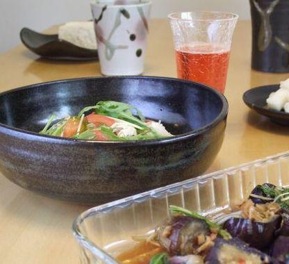 ささみとトマト、水菜のスパゲティ_090823