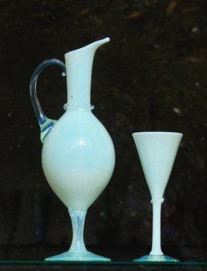 銀ドットグリーンオパール酒注ぎとグラス
