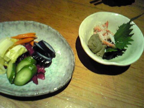 漬物と蟹味噌