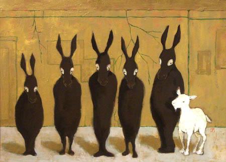 5体のロバとヤギ