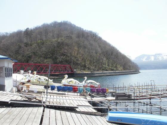 支笏湖温泉近くのボート乗り場です。