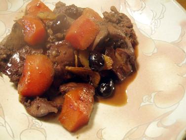 肝の黒豆煮