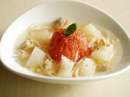 アサリとトマトのスープ04