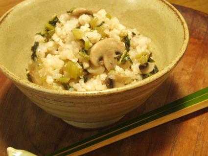 大根葉っぱとキノコの炊き込みご飯01