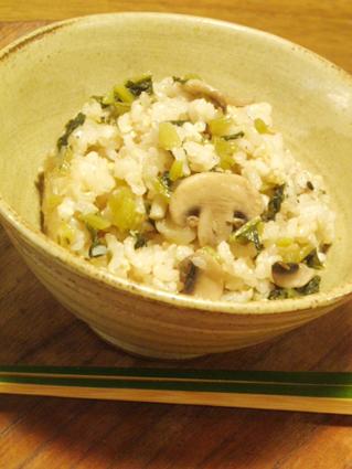 大根葉っぱとキノコの炊き込みご飯03