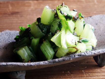 小松菜と唐辛子葉っぱのおひたし03