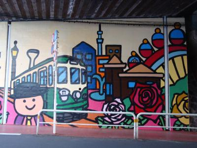 荒川区のガード下に壁画