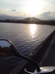もぐり橋夕陽