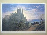 カール・フリードリヒ・シンケル「岩場に建つゴシックの大聖堂」