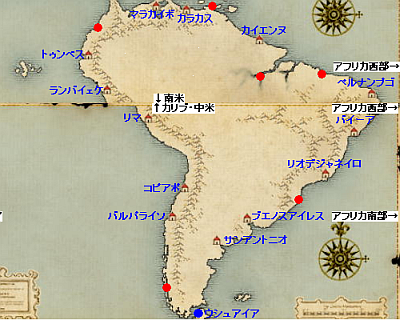 南米西岸地図