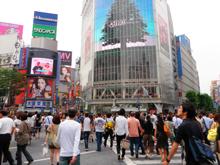 渋谷にきたよー、スクランブル交差点だー あはースゲー人