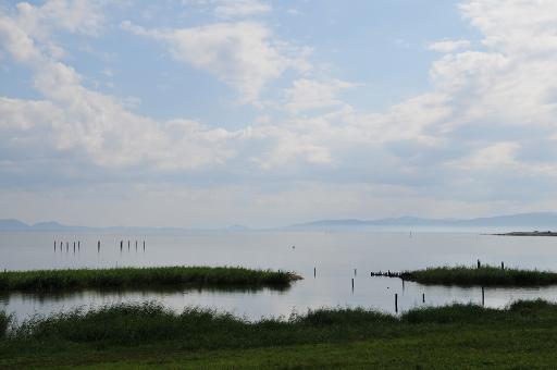 宍道湖に霞が掛っていた