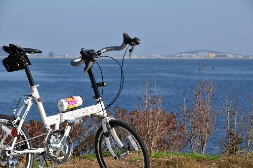 遠くに江島大橋が見える