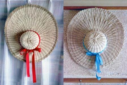 籐手芸 帽子の壁飾り 1