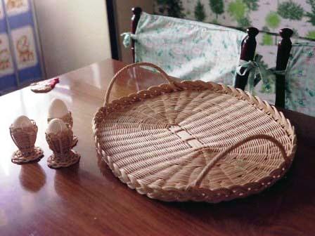 籐手芸 手つきトレイ&エッグスタンド