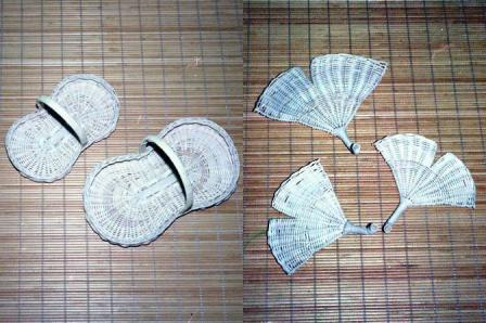 籐手芸 ピーナッツトレイ & いちょう型の皿