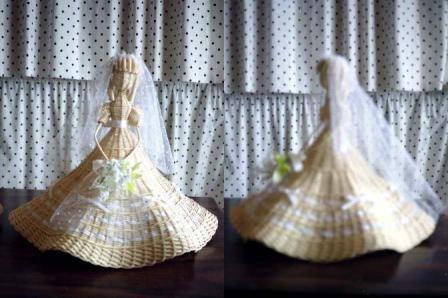 籐手芸 ウェディングドレスの人形