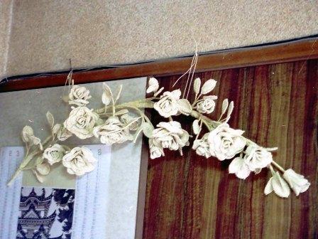 籐手芸 バラの壁飾り