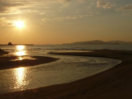 2008.12.16 立岩海岸の夕日 1