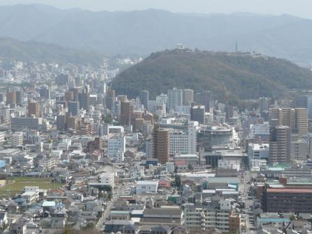 松山総合公園・展望塔から JR予讃線・8000系特急電車 1