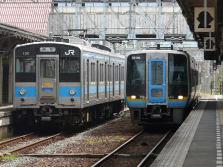 琴平駅 121系電車 & 2000系特急気動車