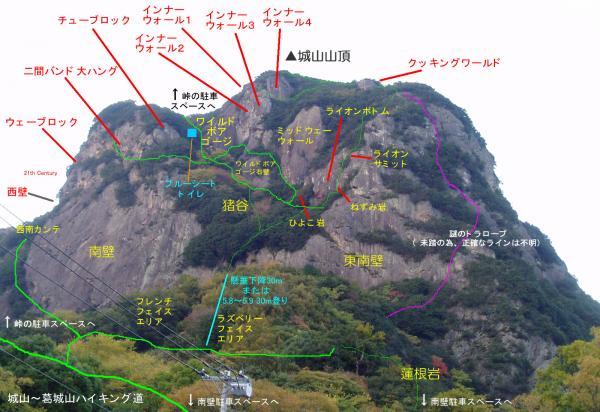 城山南壁側岩場案内図