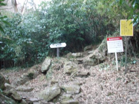 城山南壁への登り口