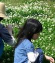 お花の冠編んでます