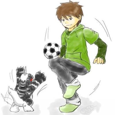 さりげない刺客、サッカーボール。