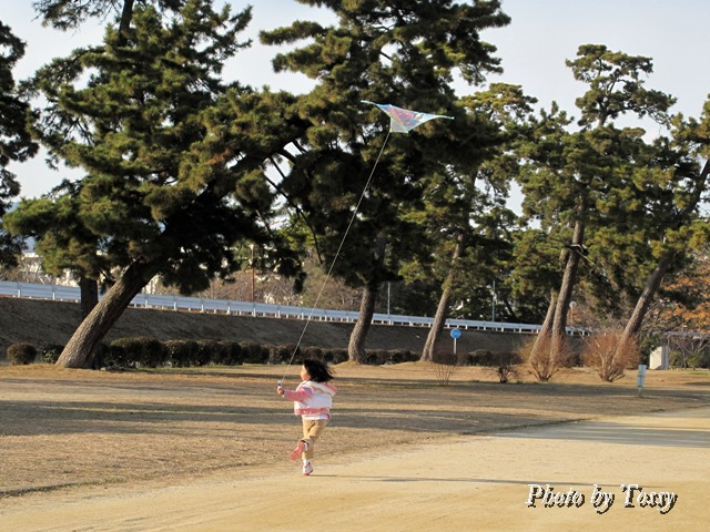 凧揚げをする女の子