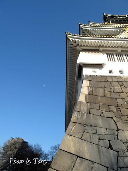 石垣と昼の月