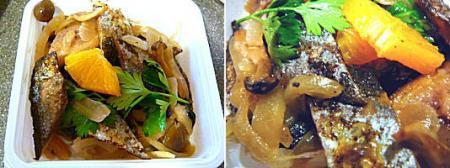 太刀魚のスモークとキノコのマリネサラダ