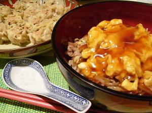 中華風丼とシュウマイ
