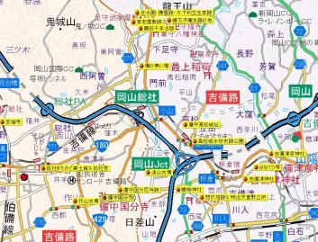 吉備路史跡地図