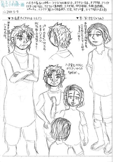 大島甚太と美津音のラフ