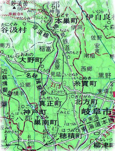 樽見鉄道周辺の地図(1988年?)