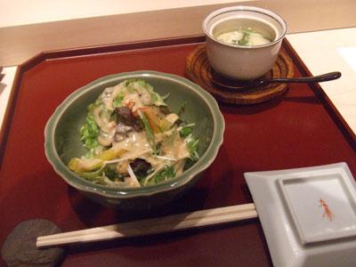 新橋 鮨 でんすけ サラダと茶碗蒸し