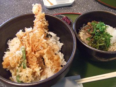 そば処 福屋 海老天丼と冷たい蕎麦