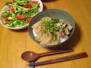 豚バラと大根の煮込み丼