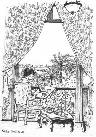 部屋の窓からスケッチ中のマコ先生